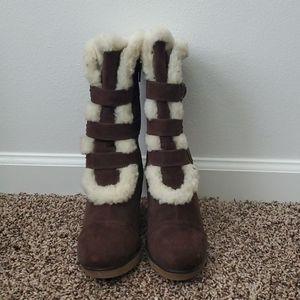 Charlotte Russe Brown Wedge Faux Boots